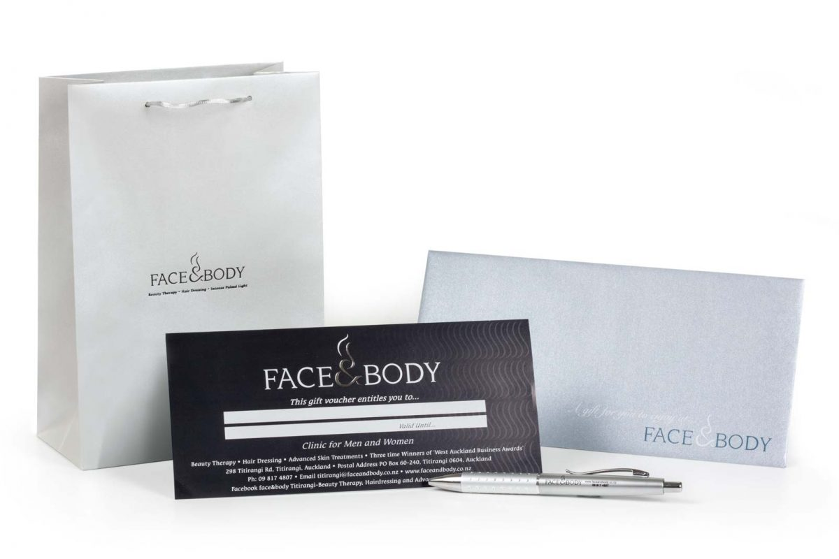 Face and Body gift voucher and pen