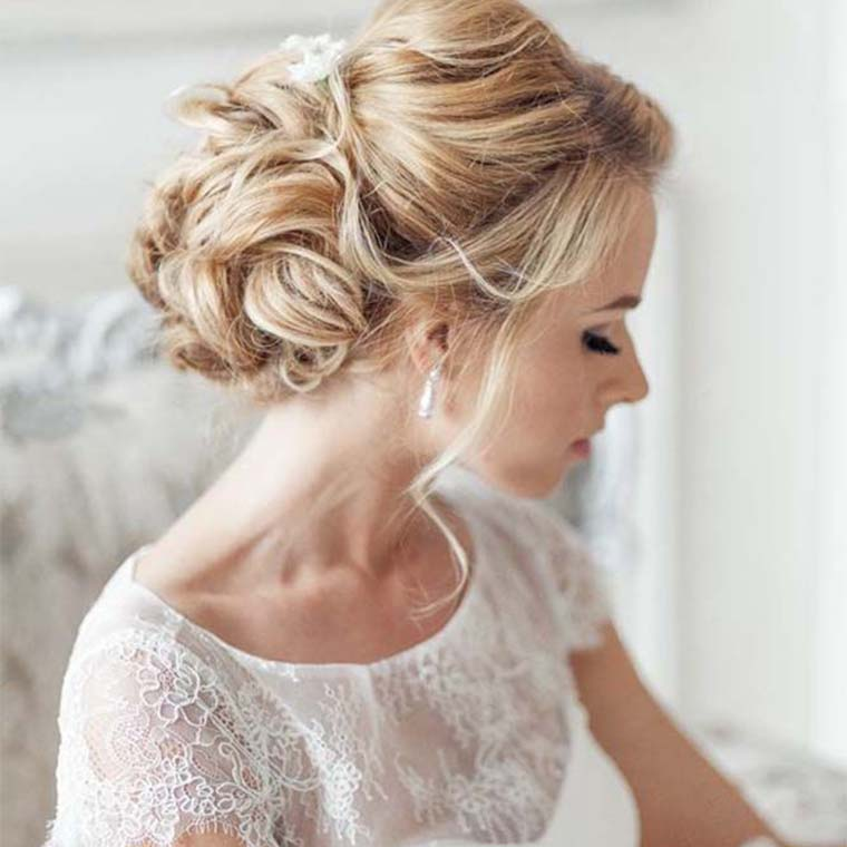 bride with hair pinned up